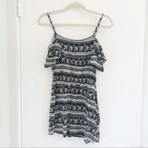 H&M coachella cold shoulder print mini dress